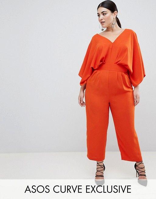 d4e62c5bd38a ASOS DESIGN Curve Jumpsuit with Kimono Sleeve and Peg Leg in Orange ...