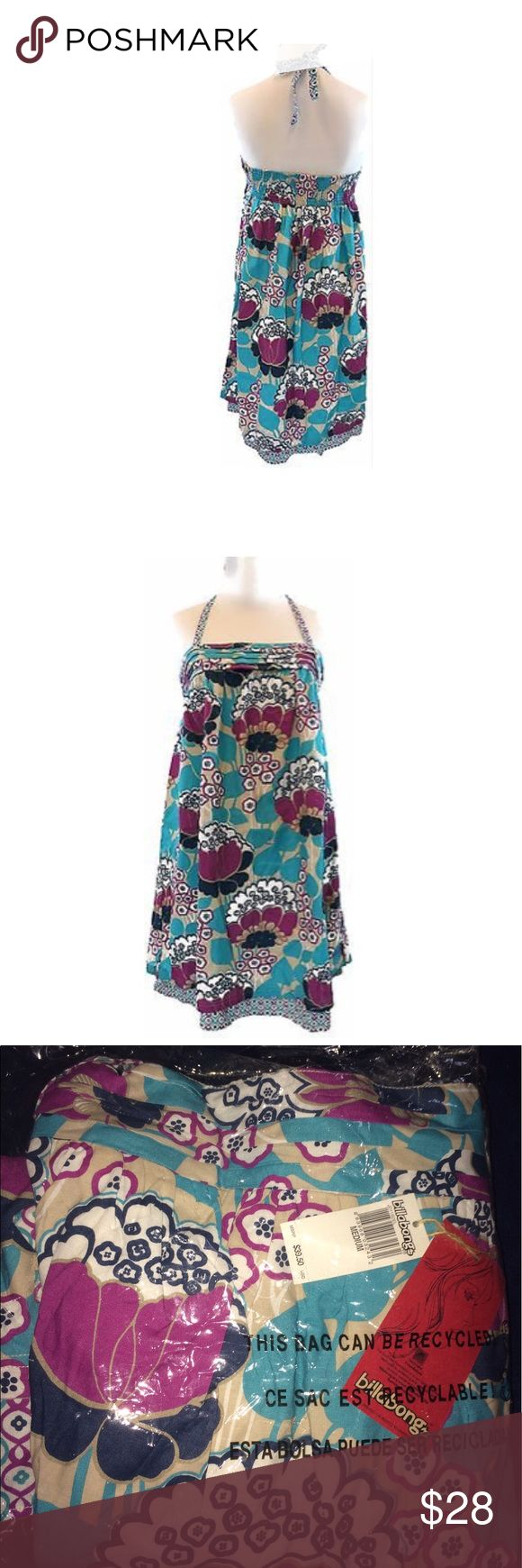 Billabong Floral Halter Dress Cute comfortable billabong floral halter dresssize: mcondition: new with tagscare: machine wash/tumble dryclosure: tiecolor:    Material :55%cotton, 45% viscose Occasion :Summer/Beach Dress Length :Above Knee, Mini Sleeve Style :Halter Pattern :Floral Billabong Dresses Mini