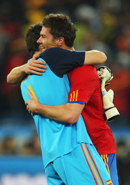 Iker and Xabi - celebrating a place in the world cup final 2010