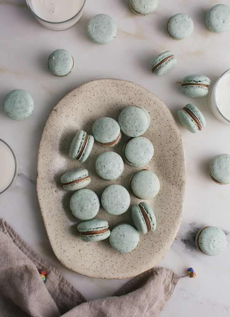 Mint Chocolate Chip Macarons ~ A Cozy Kitchen