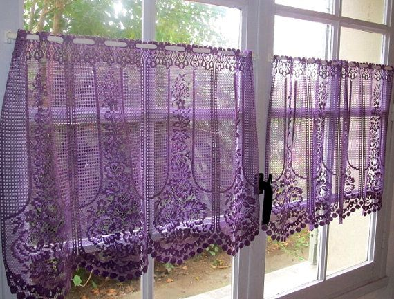 Charming Aubergine Lace Cafe Curtain One Panel Purple By LinenAndLetters · Cafe CurtainsPurple  Kitchen CurtainsRustic ...
