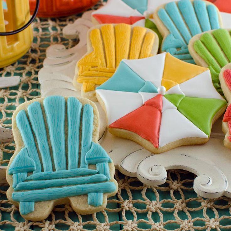 Summer Cookies: Beach Umbrellas and Chairs – Semi Sweet Designs