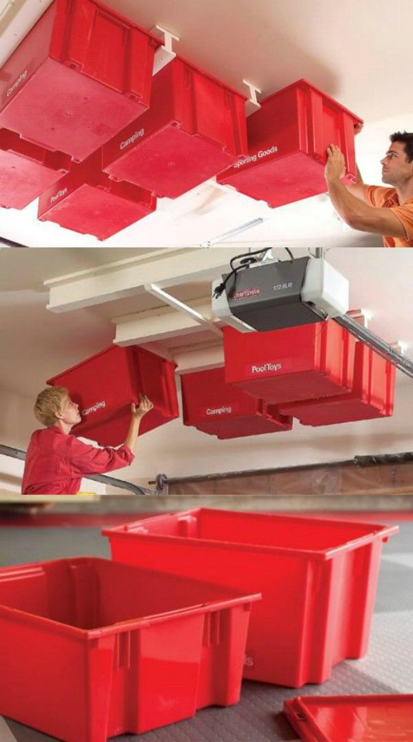 Ceiling Storage Saves Space - 49 Brilliant Garage Organization Tips, Ideas and DIY Projects.  Love these red totes attached to the ceiling.
