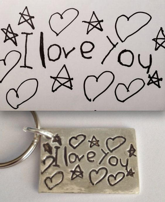 Happy Valentine's Day Daddy! To Daddy from Daughter - Your Child's Actual Drawing Made Into a Silver Keychain! Every Daddy should have one of these!