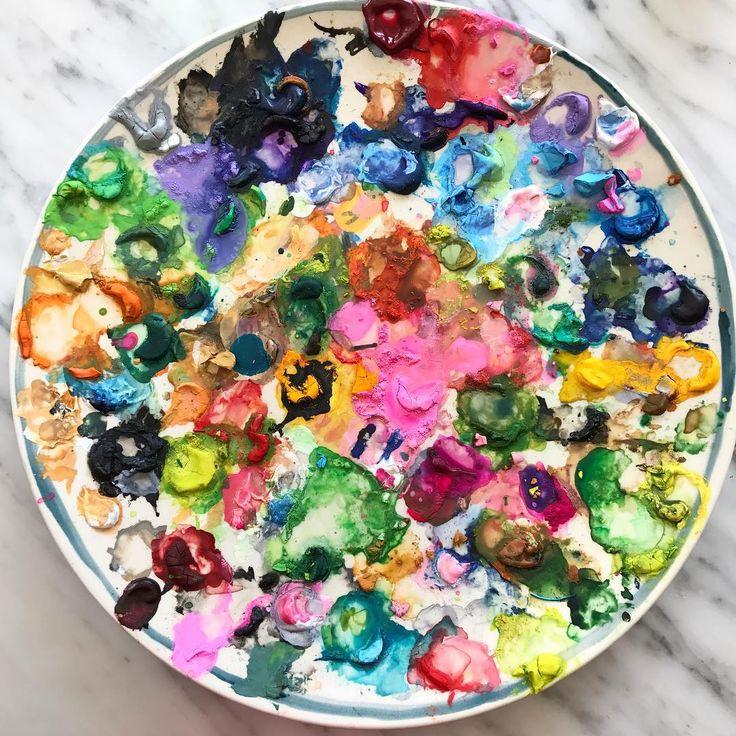 A full plate of paint. #pallette #gouache #abstractart