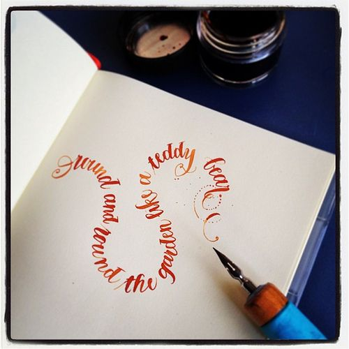 curves with calligraphy