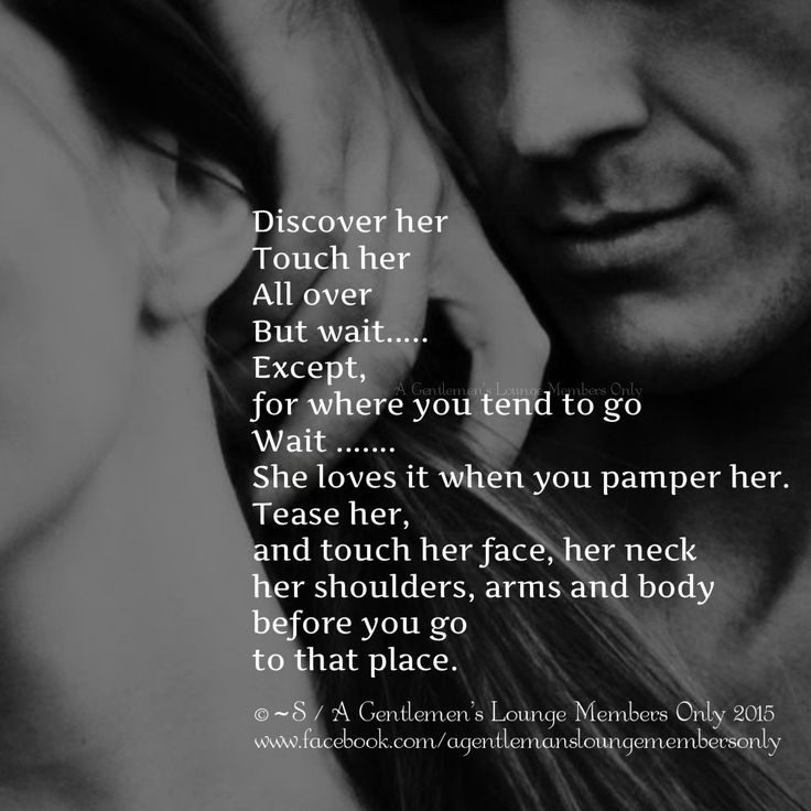 Discover her Touch her All over But wait..... Except, for