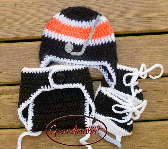 Boys BLACK ORANGE & WHITE Hockey Helmet Hat Diaper by ...