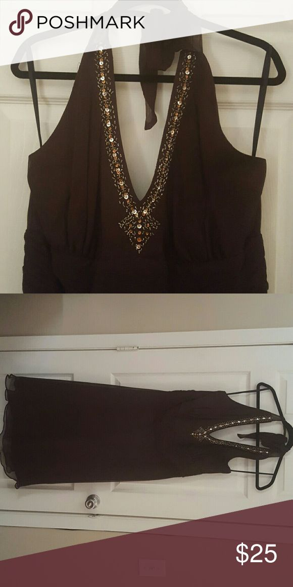Brown Formal Dress Tea length formal dress with beaded neckline and adjustable chiffon tie.  No stains or tears. Smoke free home. Dresses Midi