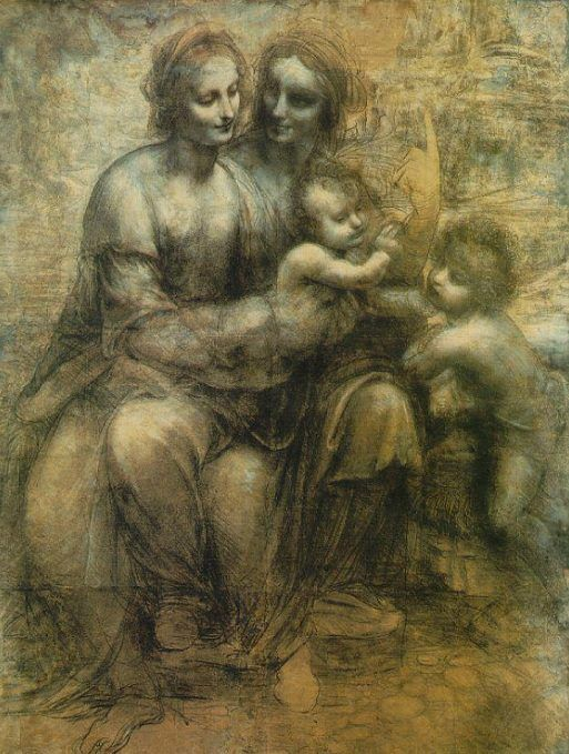 """The Virgin And Child With St. Anne And St. John The Baptist""  ... by Leonardo da Vinci  ca.1500"