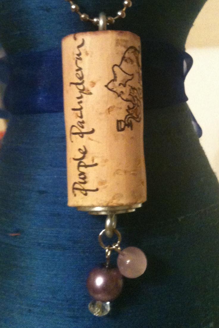 Upcycled Wine Cork Pendant: Purple Passion