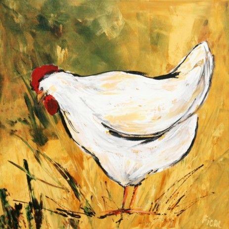 Dit rustige lands tafereel beeld een witte kip af die een graantje meepikt in het goudgele korenveld. Een kleurvol schilderij dat elke gang of kamer zal opvrolijken.