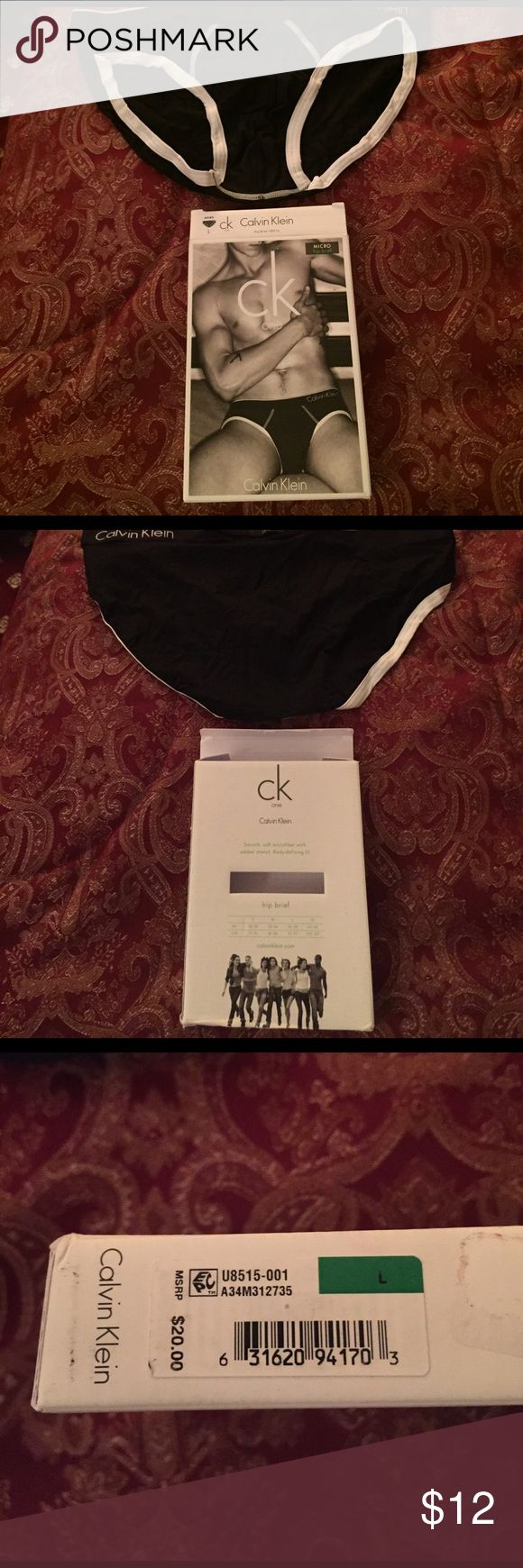 Men's Calvin Klein Micro Hip Brief Underwear Black Men's Calvin Klein Micro Hip Brief Underwear....Size Large....91% nylon and 9% elastic....color black...made in Thailand...new and in box Calvin Klein Underwear & Socks Briefs