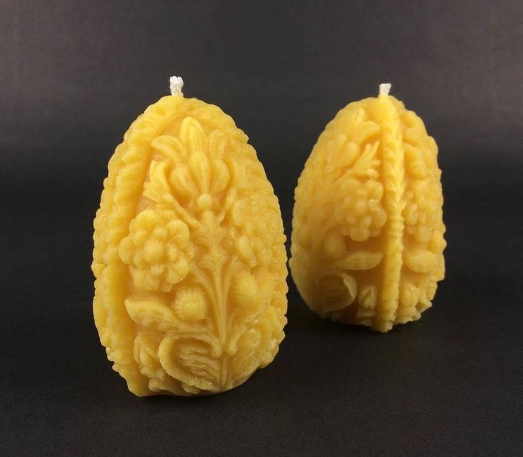 Pure beeswax 'Faberge egg' candle set- Easter candle - Natural Candle