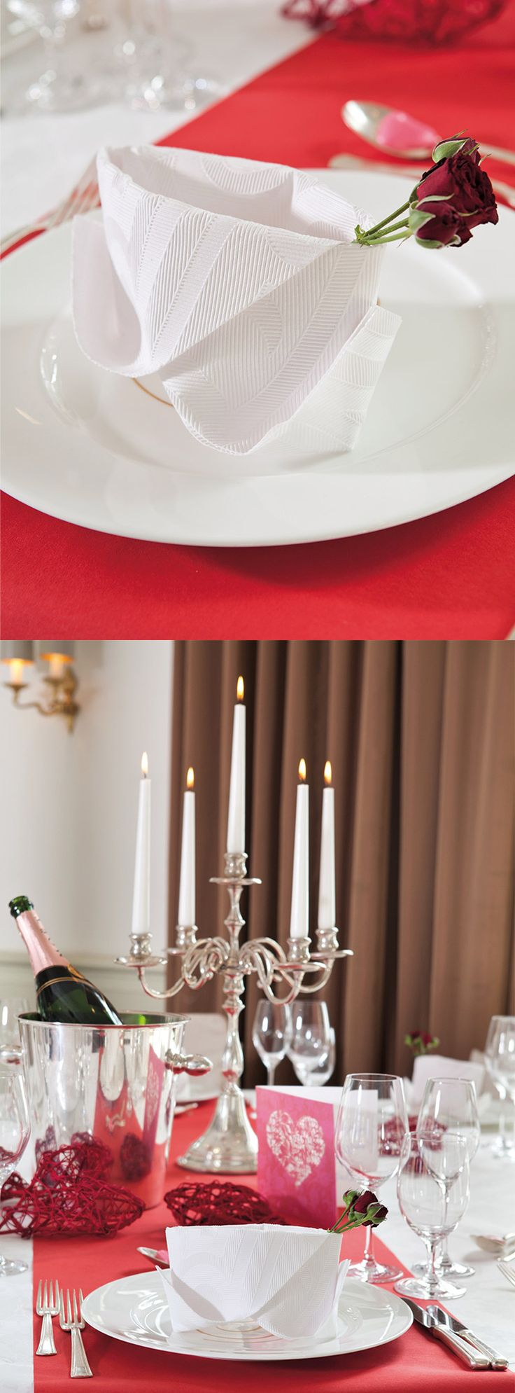 Valentine tablesetting - tablescapes for Valentines day - elegance napkins