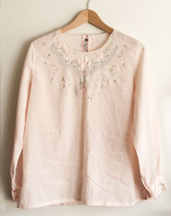 Vintage Hand Embroidered Blush Pink Blouse by TLVBirdie on Etsy