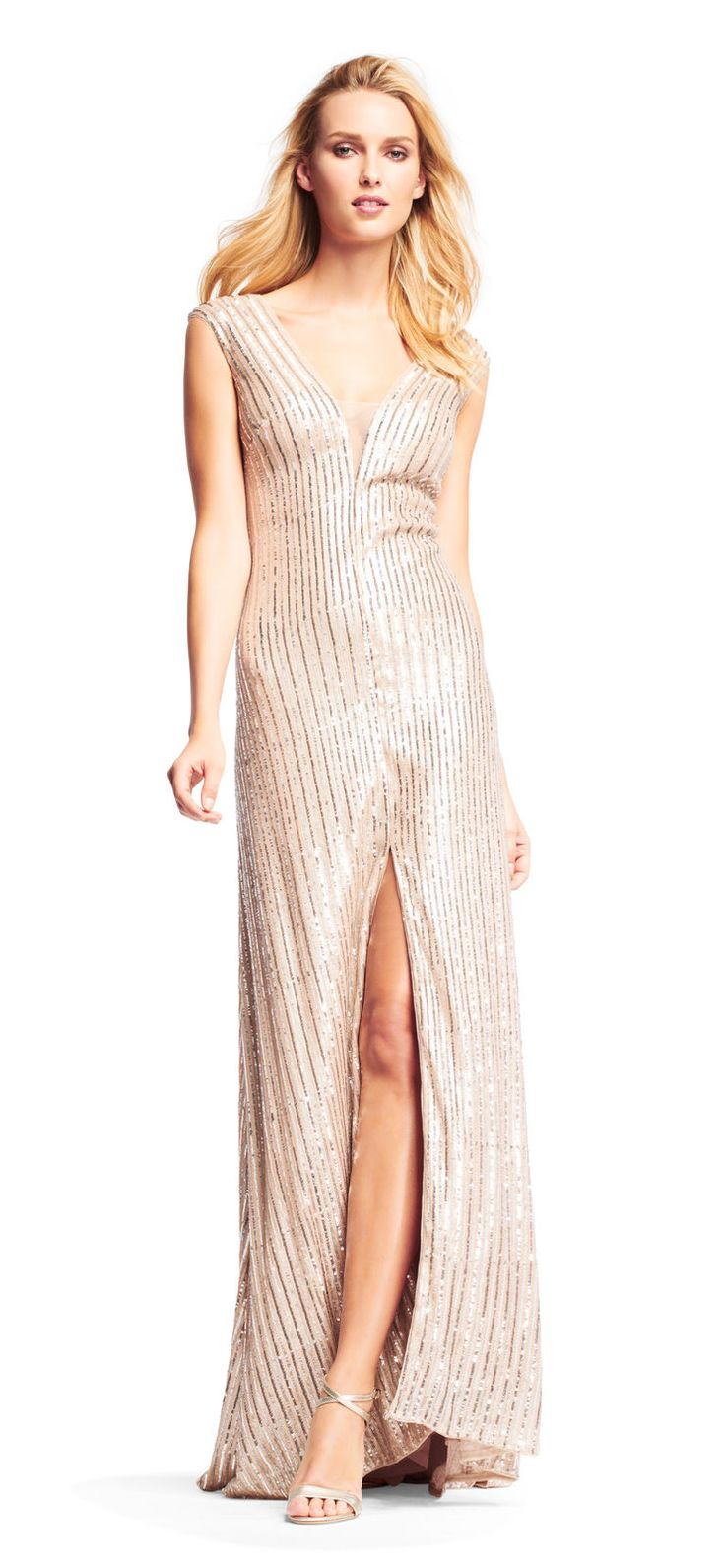 Cool Amazing Aidan Mattox Sequin Beaded Dress With Illusion Deep V-Neckline Champagne 2018