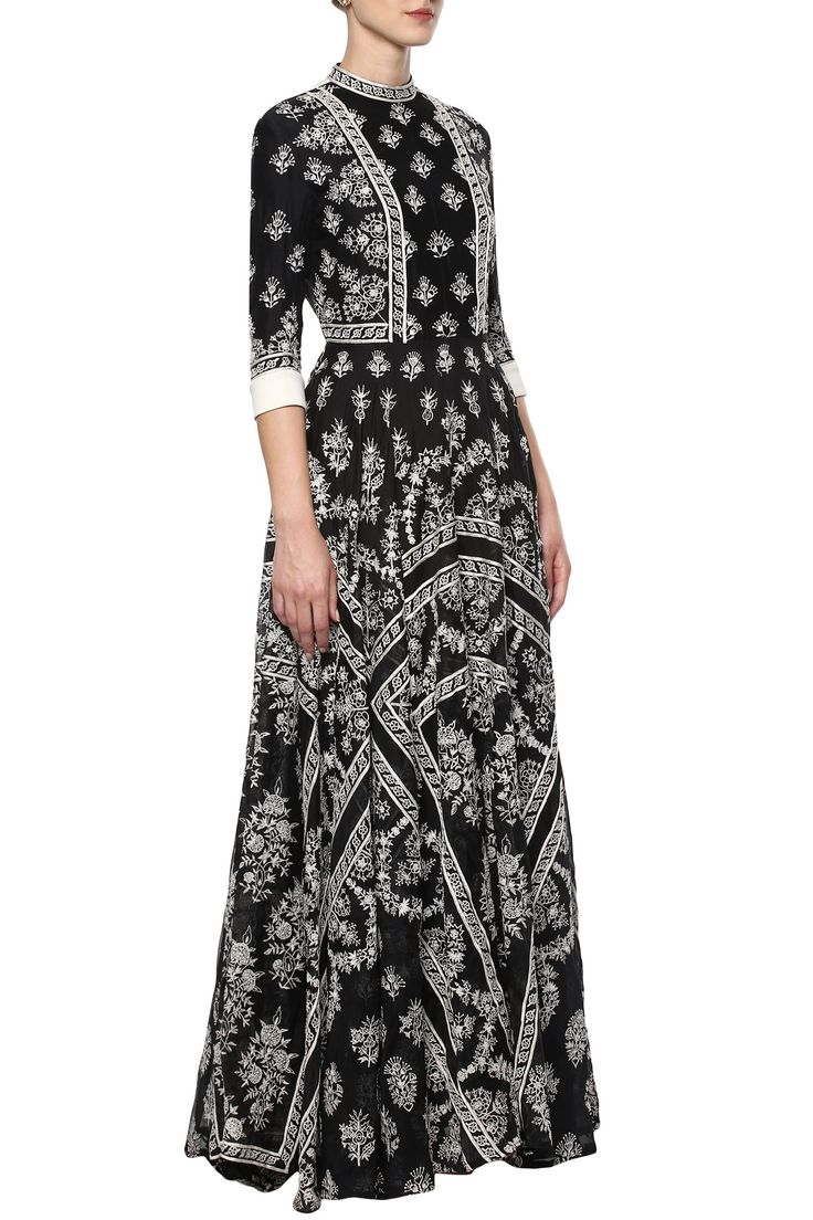 Black hand embroidered dress by Rahul Mishra - Shop at Aza