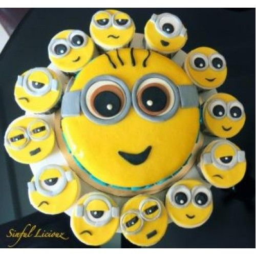 1 kg minion theme cake and 12 cup cakes. All in minion cartoon character theme. You can choose the flavour of your choise for cake using product options. These cup cakes are hand made and need time for prepration of 3-4 hours. GiftJaipur can deliver them across Jaipur same day.