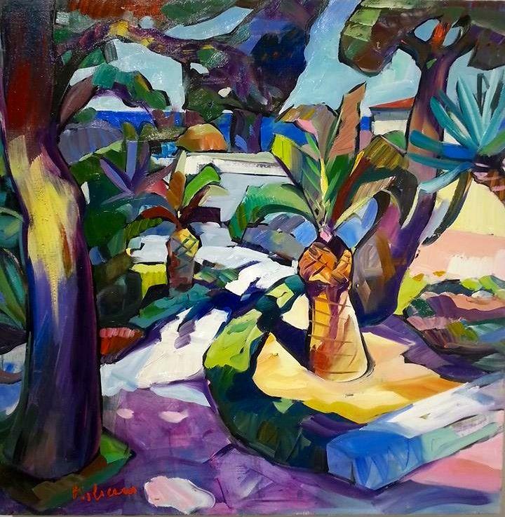 """Giardino"" olio su tela di lino 60 x 60 cm, 2012 (Artist: Claudio Malacarne)"
