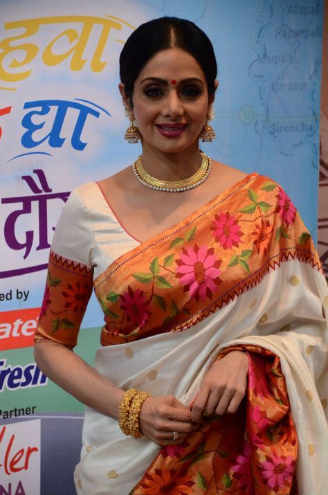 Sridevi beautiful in Saree with colorful, broad border, Indian Saree Fashion via @topupyourtrip