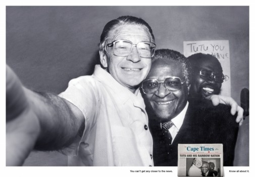 The Cape Times in South Africa: Lowe makes it appear as if these iconic photos are self-shot portraits taken by the subjects themselves. Many people are familiar with the self-portrait style now popular on the Internet with camera phones and applications like Instagram, which Lowe capitalizes on with their message. Each photo is followed by the campaign tagline 'You can't get any closer to the news. Know all about it.'