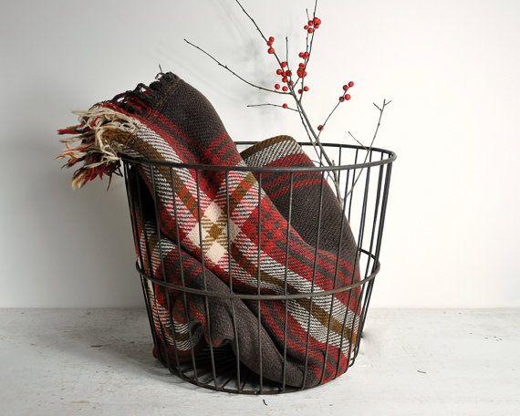 Vintage Wire Basket / Industrial Basket / Egg Basket