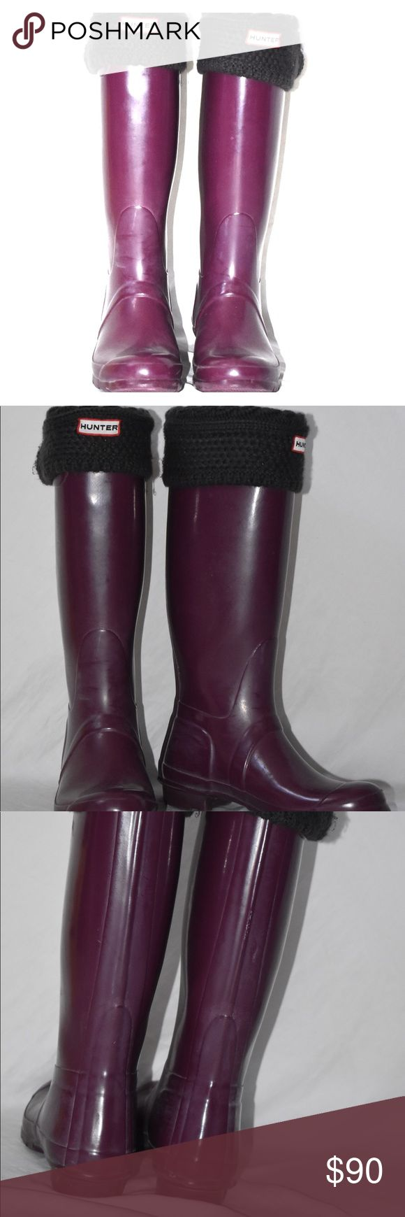 HUNTER classic tall boot w/ grey wellies The classic Hunter tall rain boot in eggplant. Grey Wellies included. Stylish and great for rainy days. Great condition. Hunter Boots Shoes Winter & Rain Boots