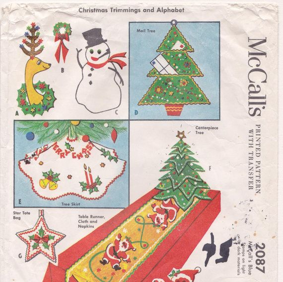 CHRISTMAS DECOR PATTERN, McCall's 2087, 1956, Tree Skirt, Table Runner, Mail Tree, Centerpiece Tree, Vintage Mid-Century Holiday Crafts