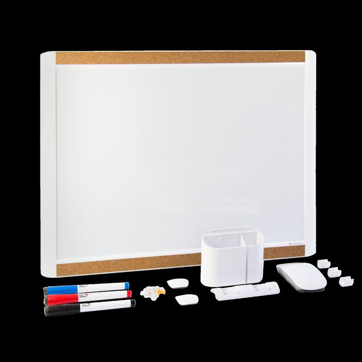 MOD and Pin-It Dry Erase Dekuxe Value Pack Magnetic Whiteboard, 1' H x 2' W