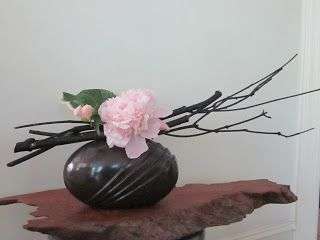 Orchids and Ikebana: Basket and Peony Arrangement