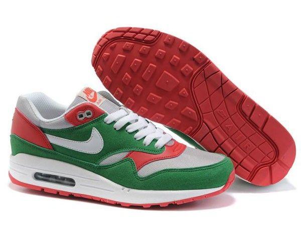 Stylish Nike Air Max 1 Green Red Grey Half-palm Cushion Mesh Training Shoes  Australia
