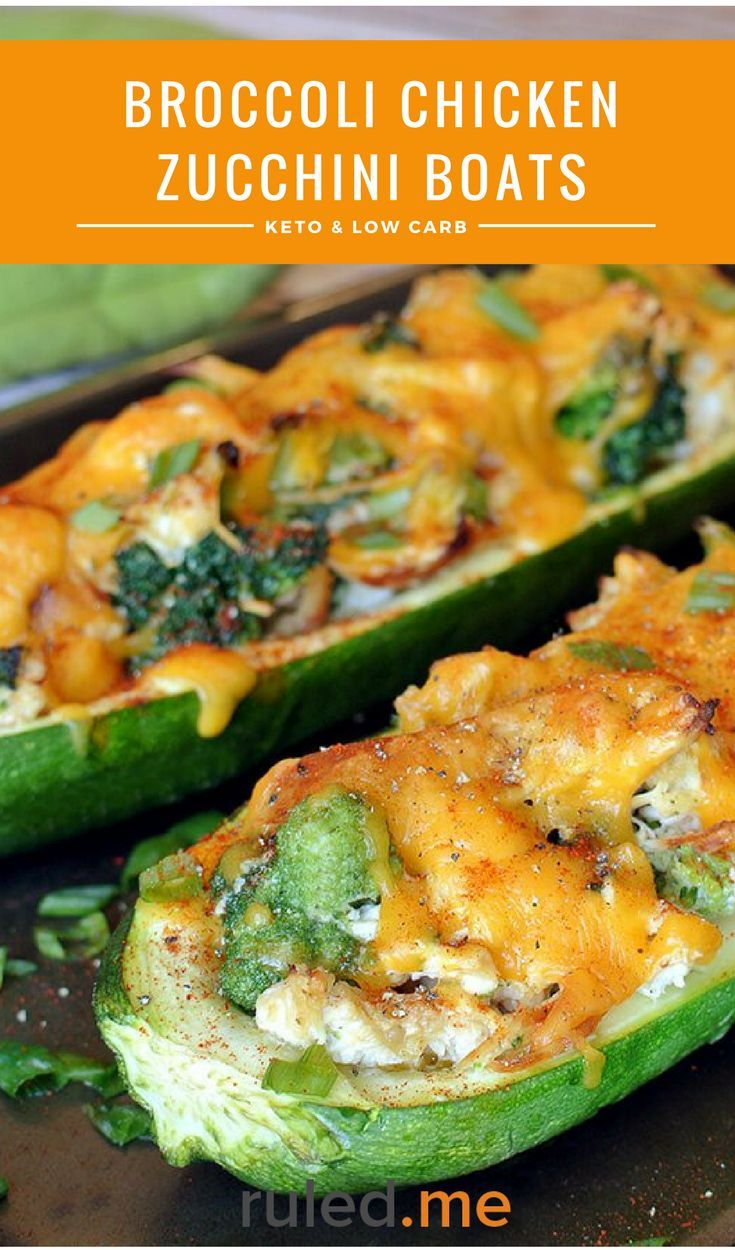 A broccoli chicken zucchini boats recipe. This makes a great meal idea, or even just as a quick snack. #ketodiet #ketorecipes #ketogenicdiet