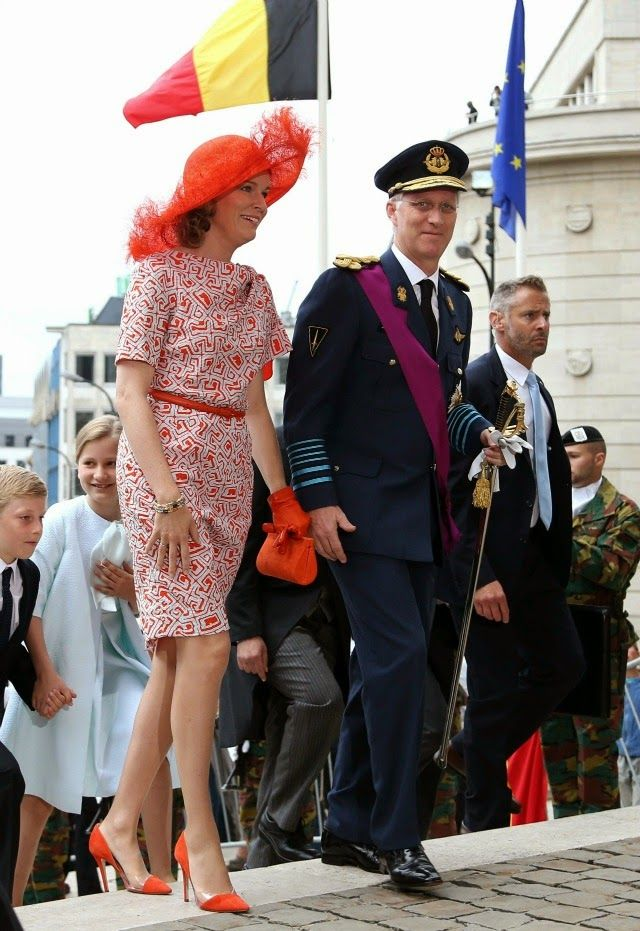 MYROYALSHOLLYWOOD FASHİON:  Belgium's National Day, Cathedral of Saint Michel and Gudule, Brussels, July 21, 2014-Queen Mathilde and King Philippe with Prince Emmanuel and Princess Elisabeth, Duchess of Brabant