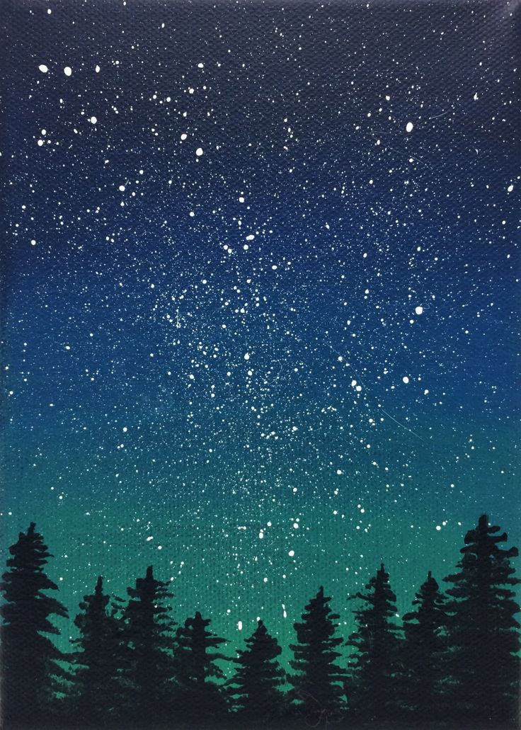 This stunning night sky scene, a perfection addition to a bookshelf or small wall space, features a splattering of stars on a gradient of deep blue and green above silhouetted pine trees. It is painted in artist quality acrylics on a 5x7 stretched canvas, using brushwork accented with splatter paint.    Will be signed and carefully packaged. Please be aware of my studio cats in case of allergies.