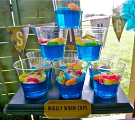 fishing theme...Awesome ideas on this blog...jello fish bowls, bait bucket cupcakes....link to printables also