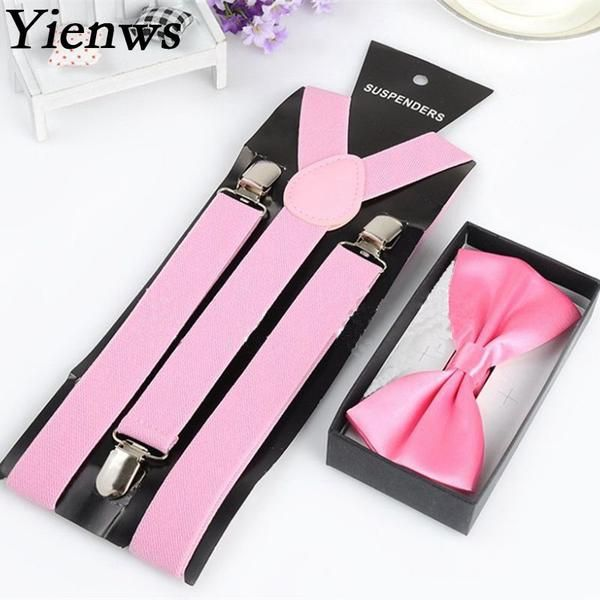 Yienws Fashion Bow Tie Suspenders For Women Red Pink Braces Suspensorio Mujer Wholesale Jartiyer Bretelles Unisex YiA001 #suspenders