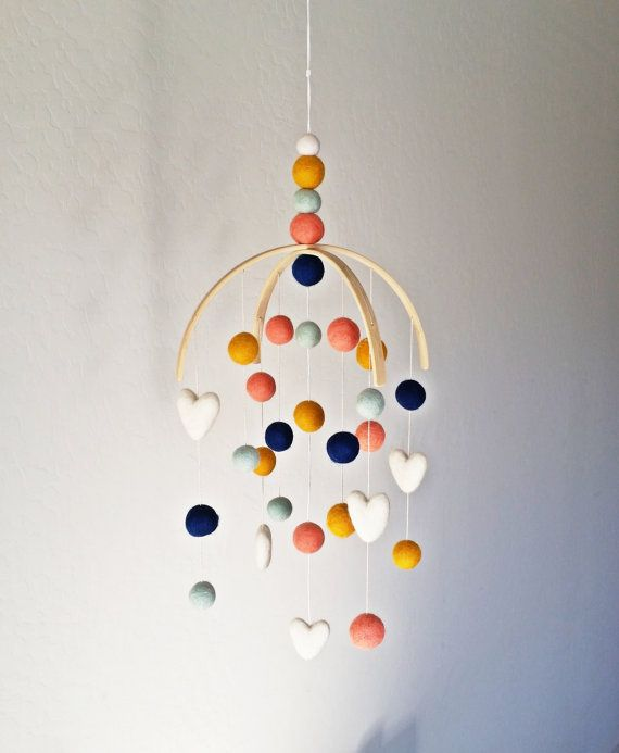 Arizona Baby Mobile, Felt Ball Mobile, Modern Arizona baby mobile, coral and navy baby nursery decor, whimsical baby mobile                                                                                                                                                                                 More