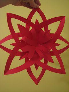 Voici une nouveauté pour nous cette année : une autre version d'une étoile en papier !       Voici comment faire :   Vous aurez besoin de de...