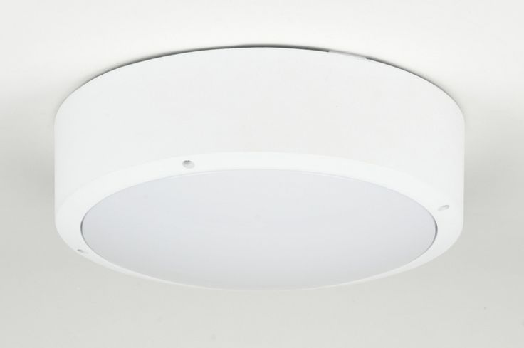 """Artikel 71496 Prachtige ronde buitenlamp, gemaakt van aluminium in de kleur wit. De lamp is afgeschermd door een opaal polycarbonaat glas.  Dit """"glas"""" is slagvast, dat wil zeggen; vandalisme- bestendig. http://www.rietveldlicht.nl/artikel/plafondlamp-71496-modern-aluminium-kunststof-wit-mat-rond"""