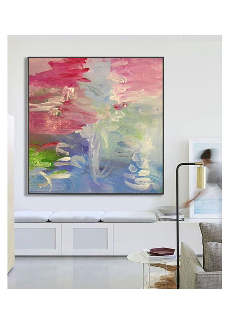"""Cirrus"" in situ. Inspired by Melbourne's four seasons in one day weather. Acrylic painting by Anne-Maree Wise"