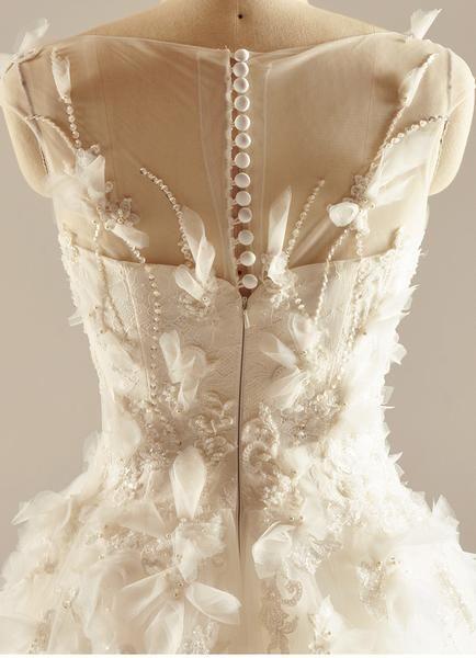 Круглый вырез See Through ручной работы цветок линии Свадебные платья, выполненные на заказ свадебные платья, дешевые свадебные платья, WD217