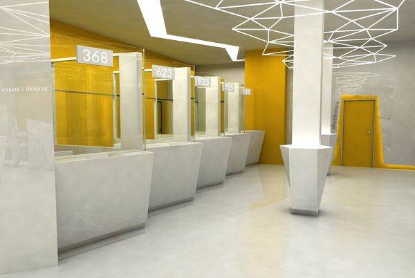 bank interior / wnętrze banku by Patrycja Apostel, via Behance