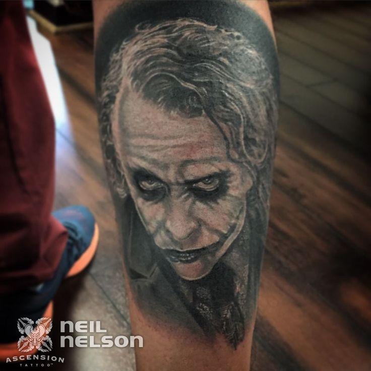 Heath ledger as the joker portrait tattoo by neil nelson