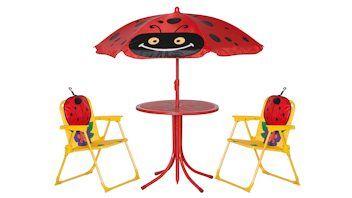 siena GARDEN Kindersitzgruppe Marie mit Schirm. Malen, picknicken und tolle Spiele - die Garten-Kindersitzgruppe Marie von siena GARDEN bietet viel Platz und einen hohen Sitzkomfort. Die Kindersitzgruppe mit einem hochwertigen Polyesterbezug besteht aus zwei bequemen Klapsesseln und einem standfesten Tisch. Das besondere Highlight ist der höhenverstellbare Schirm. Die Möbel bestechen nicht nur durch Ihre Stabilität und Pflegeleichtigkeit, sondern auch durch ihre Witterungsbeständigkeit. Die…