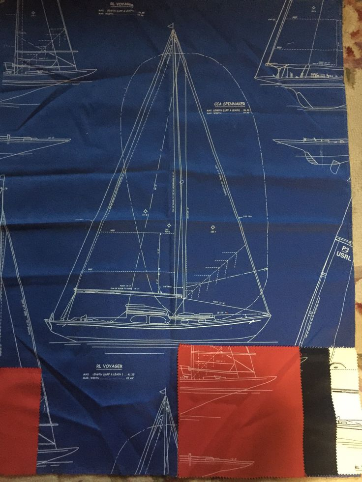Nautical Boat Gulf Breeze Ocean fabric by Ralph Lauren pattern Chesapeake by FrenchCountryGirl on Etsy