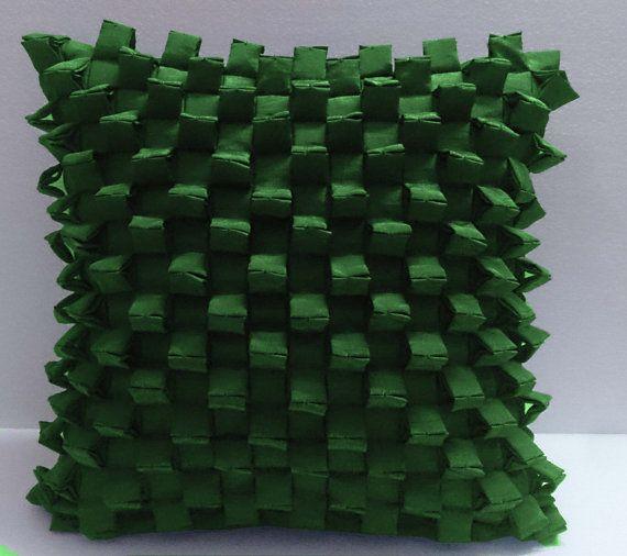 triangular pleated pyramid shaped three -D Green cushion decorative cushion modern bed pillow sewing pattern bedroom decor silk cushion