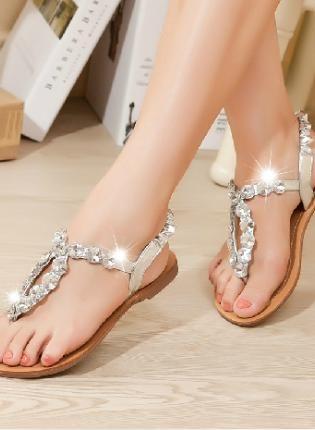 Gold Sandals - Rhinestone Thongs Beach Sandals