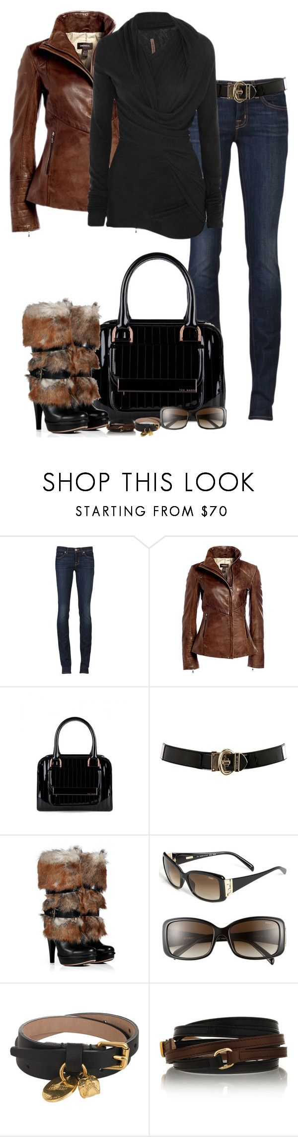 """""""Not Your Everyday Uggs"""" by partywithgatsby ❤ liked on Polyvore featuring J Brand, Danier, Ted Baker, Karen Millen, Rick Owens Lilies, UGG Australia, Fendi, Alexander McQueen, platform heels and top handle bags"""