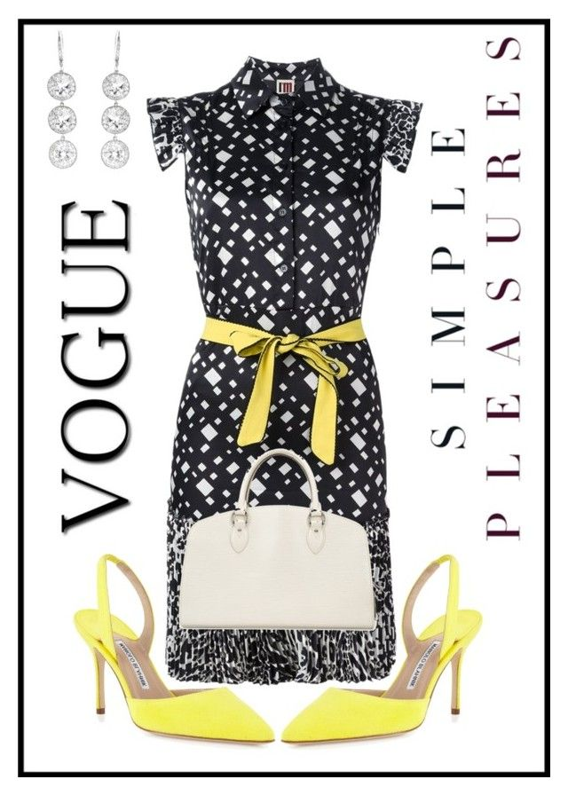 """Yellow, black and white"" by bijouxinedit ❤ liked on Polyvore featuring I'm Isola Marras, Manolo Blahnik, Louis Vuitton and Andrea Fohrman"